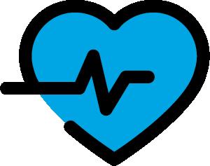 Ein blaues Herz mit einem Herzschlag