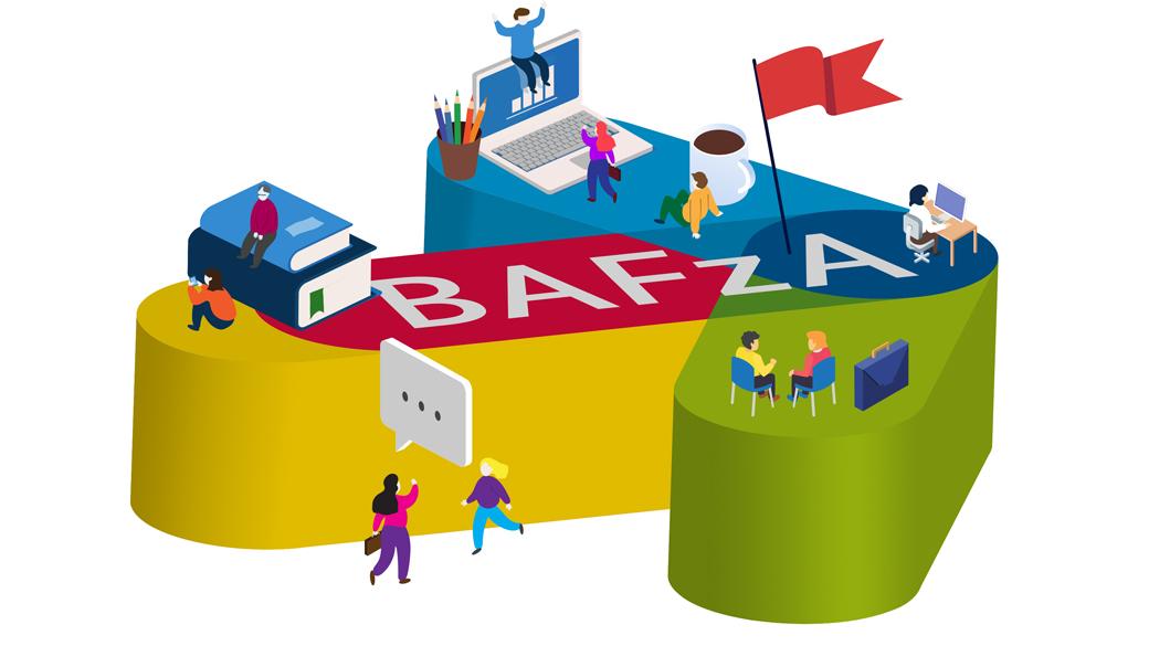 Eine Grafik: Auf dem Signet des BAFzA, einem bunten Pfeil, spielen sich verschiedene Szenen ab.