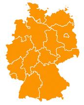 Deutschlandkarte mit den Grenzen der Bundesländer