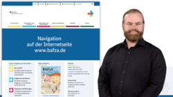 Ein Mann lächelt freundlich in die Kamera. Im Hintergrund ist die Navigation der Internetseite www.bafza.de abgebildet. |Öffnet im gleichen Fenster